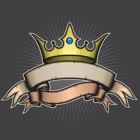 crown tattoo: Crown and Banner Illustration