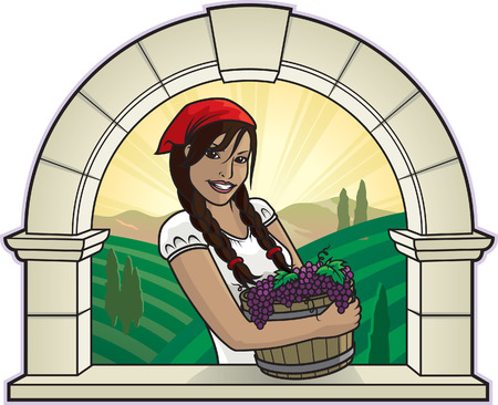 vineyard sunset: Girl with Grapes Illustration