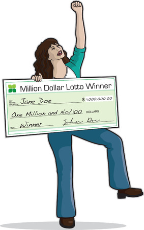 woman holding money: Big Check Winner