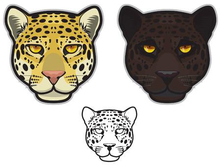 black leopard: Jaguar Face Illustration