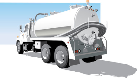 Pump Truck Back  Side View Vector