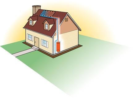 bomba de agua: Calefacci�n Solar Vectores