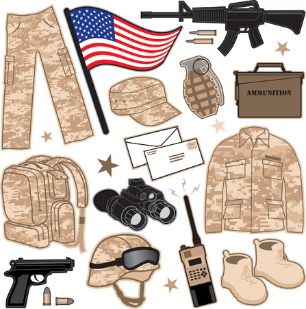 Military Items Vector