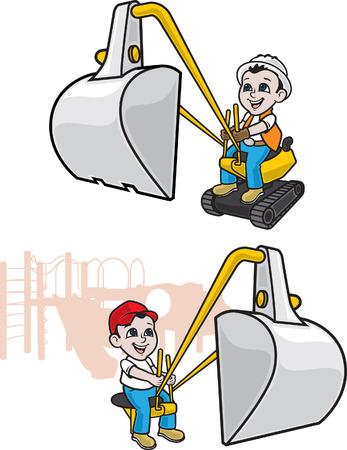 Excavator Boy 向量圖像