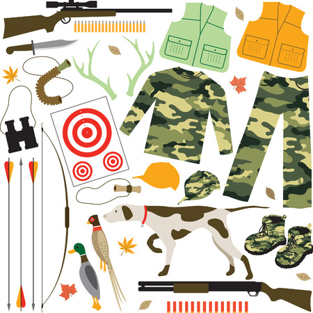 duck hunting: Hunting Items Illustration