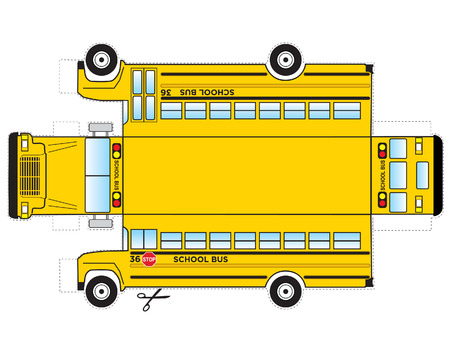 School Bus Cutout Çizim
