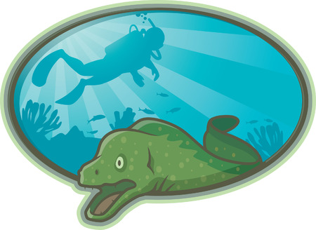 moray: Eel and Diver Illustration