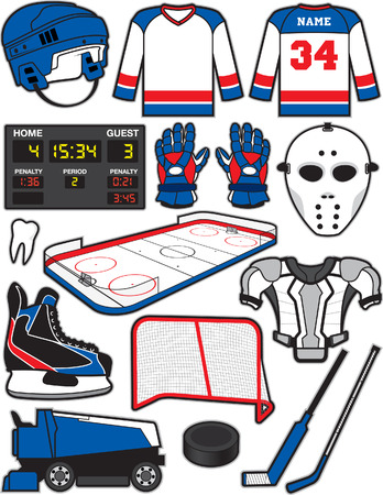 Hockey Items Vector