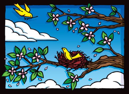 Nesting Birds Ilustração