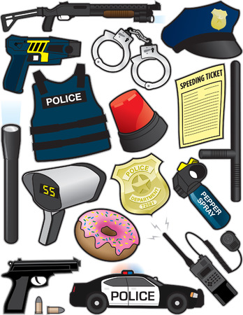 Police Items Vector