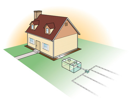 sewer water: Septic System Diagram Illustration