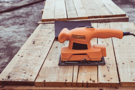 electrical wood sanding machine. Stock Photo