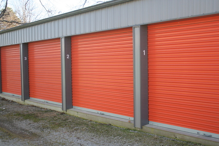 Self storage units with overhead doors.