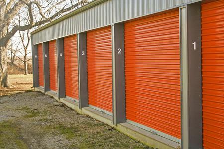 self storage: Row of self storage units Stock Photo