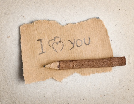 fragmentary: I love you. The message on fragmentary sheet.