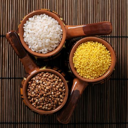 Buckwheat, rice, millet groats in