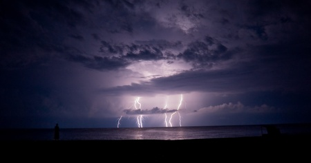Thunder-storm and lightning in the sea  photo