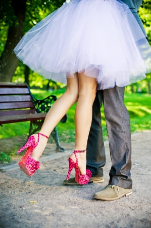 Legs of the groom and the bride  Standard-Bild