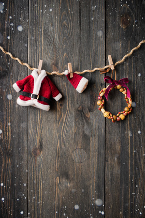 Santa Claus clothes and jewelry on the clothesline