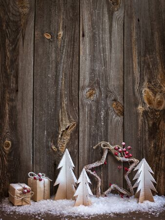 new year tree: Christmas decoration over wooden background for congratulations