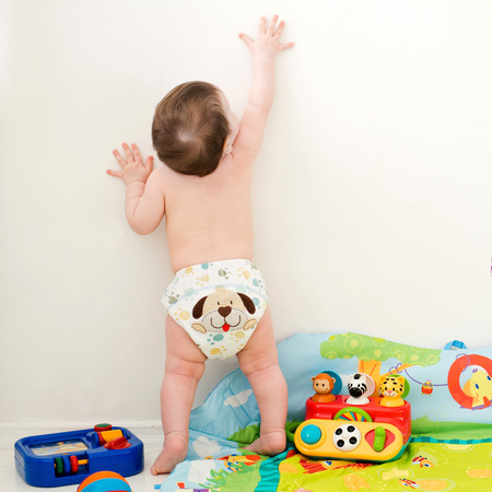 baby stretches his hand up on a white background Standard-Bild