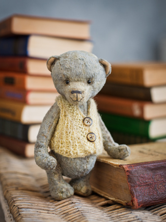 Teddy bear sits on a vintage book