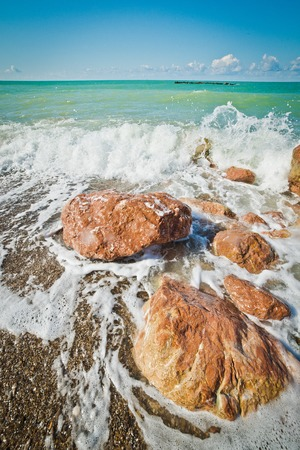 waves and stones on the Black Sea coast in Crimea