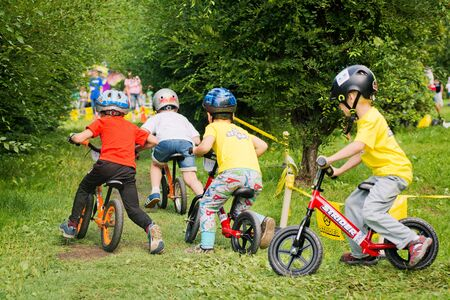 Russia. Moscow. Vorontsovsky Park on the 21st of August. STRIDER CUB 2016. Baby Racing on the Balance Bike