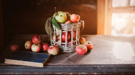 Fresh harvest of ripe and healthy farm apples in a glass jar, in a basket. Still life autumn rustic by the window and an old chest of drawers on a dark background. Standard-Bild - 129167266