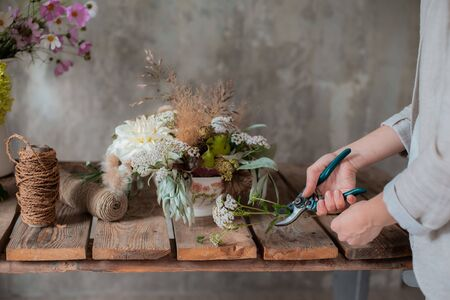 Female professional florist prepares the arrangement of wild flowers. Flower shop. Background concrete gray wall. Concept inspiration, floral, greetings, spring, ornament flowers. Banco de Imagens