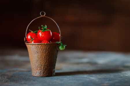 Cherry tomatoes in a decorative rusty old bucket on a dark rustic background. Beautiful still Life Tomatoes grape small in the contra light with drops of water.