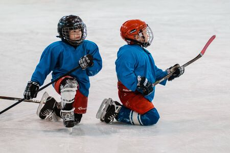 Six-year-old child is engaged in ice hockey. Training. Russia Moscow 30 September 2019