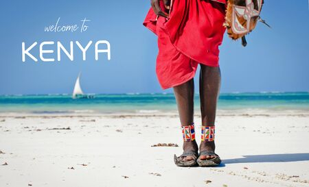 feet men the Masai tribe in shoes made of car tires on the backdrop of the ocean Stock Photo
