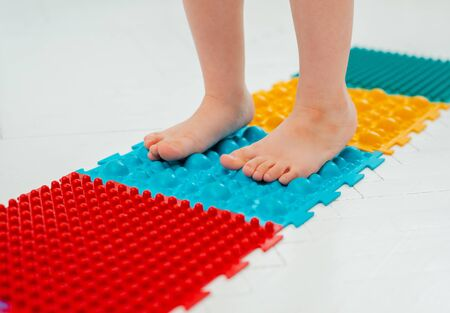 Toddler baby foot massage mat. Exercises for legs orthopedic massage carpet. prevention flat feet and hallux valgus Orthopedic massage puzzle floor mats for development children.