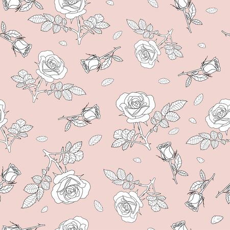 detailed seamless pattern with white, black frame rose and leaves in pink background. Romantic, vintage, country style for Valentine's, wedding designs, graphic, printed fabric, fashion, home decor.