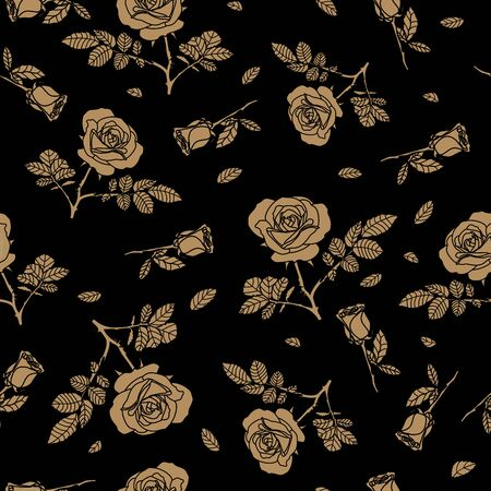 detailed seamless pattern with golden rose in black background. Romantic, vintage, luxurious style for Valentine's, wedding designs, graphic, printed fabric, fashion, home decor, paper, package, gift.