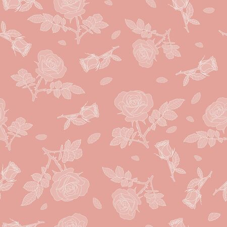 detailed seamless pattern with white rose and pink background. Romantic, vintage, country style for Valentine's, wedding designs, graphic, printed fabric, fashion, home decor, paper, package, gift.