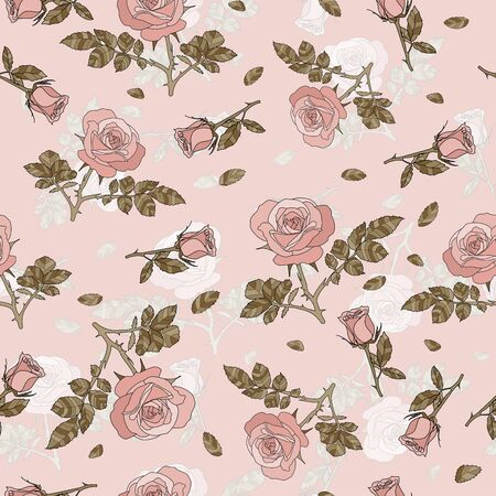 detailed seamless pattern with pink rose and golden leaves in pink background. Romantic, vintage, country style for Valentine's, wedding designs, graphic, printed fabric, fashion, home decor, package. Illusztráció