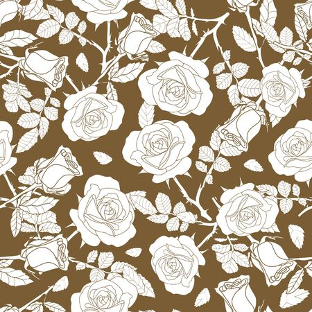 detailed seamless pattern of white rose and leaves in golden background. Romantic, vintage, luxurious style for Valentine's, wedding design, graphic, printed fabric, home decor, paper, package.