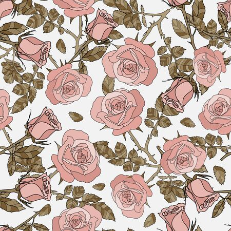 detailed seamless pattern of growing rose in white background. Romantic, vintage, country style for Valentine's, wedding designs, graphic, printed fabric, fashion, home decor, paper, package, gift.