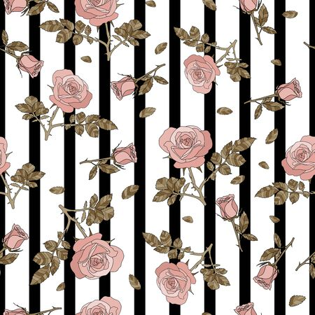 detailed seamless pattern with pink rose and golden leaves in black and white stripe background. Romantic, vintage style for Valentine's, wedding designs, graphic, printed fabric, fashion, paper.