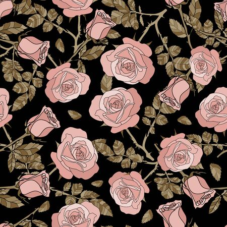 detailed seamless pattern of pink rose and golden leaves in black background. Romantic, vintage, country style for Valentine's, wedding designs, graphic, printed fabric, fashion, home decor, paper.
