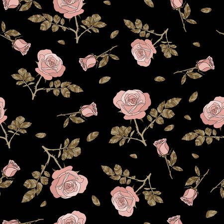 detailed seamless pattern with pink rose and golden leaves in black background. Romantic, vintage, country style for Valentine's, wedding designs, graphic, printed fabric, fashion, home decor, paper.