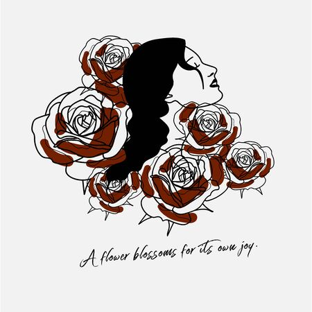 Hand writing quotation with illustration of woman and red rose in simple colors. Simple, and vintage style, suitable for wallpaper, cards, print, home decor, coffee shop.