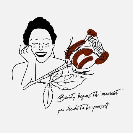 Handschrift Zitat mit Illustration von Frau und roter Rose in einfachen Farben. Einfach und Vintage-Stil, geeignet für Tapeten, Karten, Druck, Wohnkultur, Café. Vektorgrafik