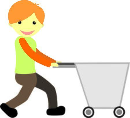 shopper: Shopper Man With Trolley