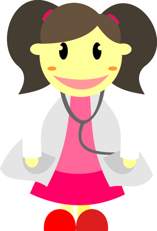 healt: Cute Doctor Girl Illustration