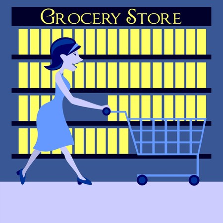 chrome: a modern mom who is shopping at grocery store Illustration