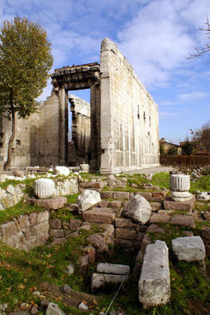 Ruins and Roman temple Stock Photo