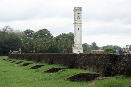 galle: Clock tower in old dutch fort Galle, Sri Lanka                    Stock Photo